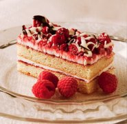 Raspberry burst slab cake